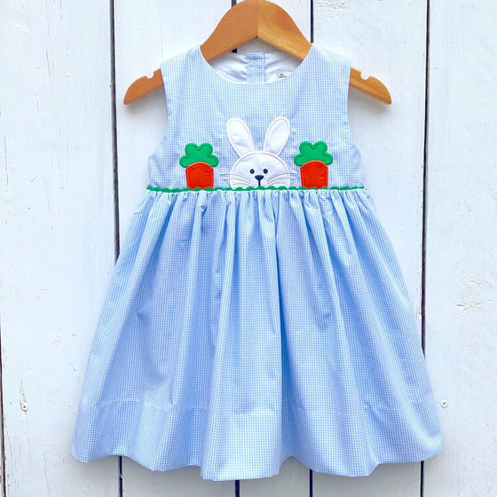 Vintage Bunny Applique Dress with Carrots