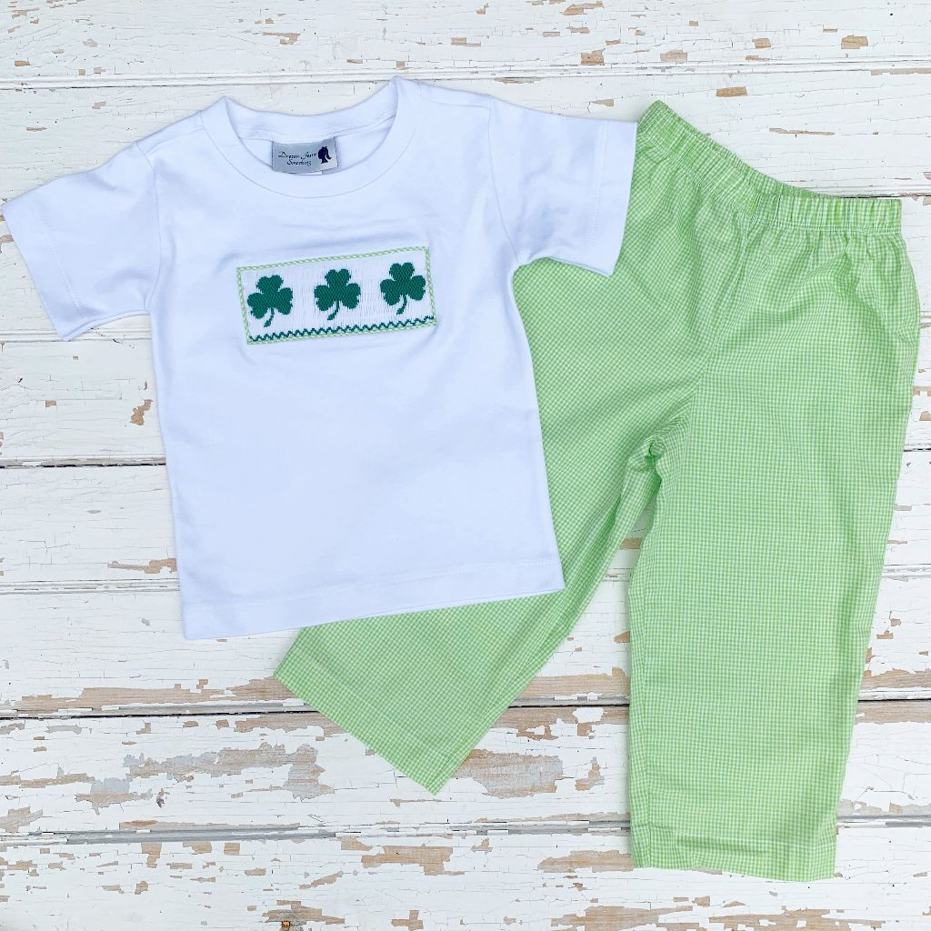 Boys Smocked Shamrock Shirt Saint Patrick's Day Outfit