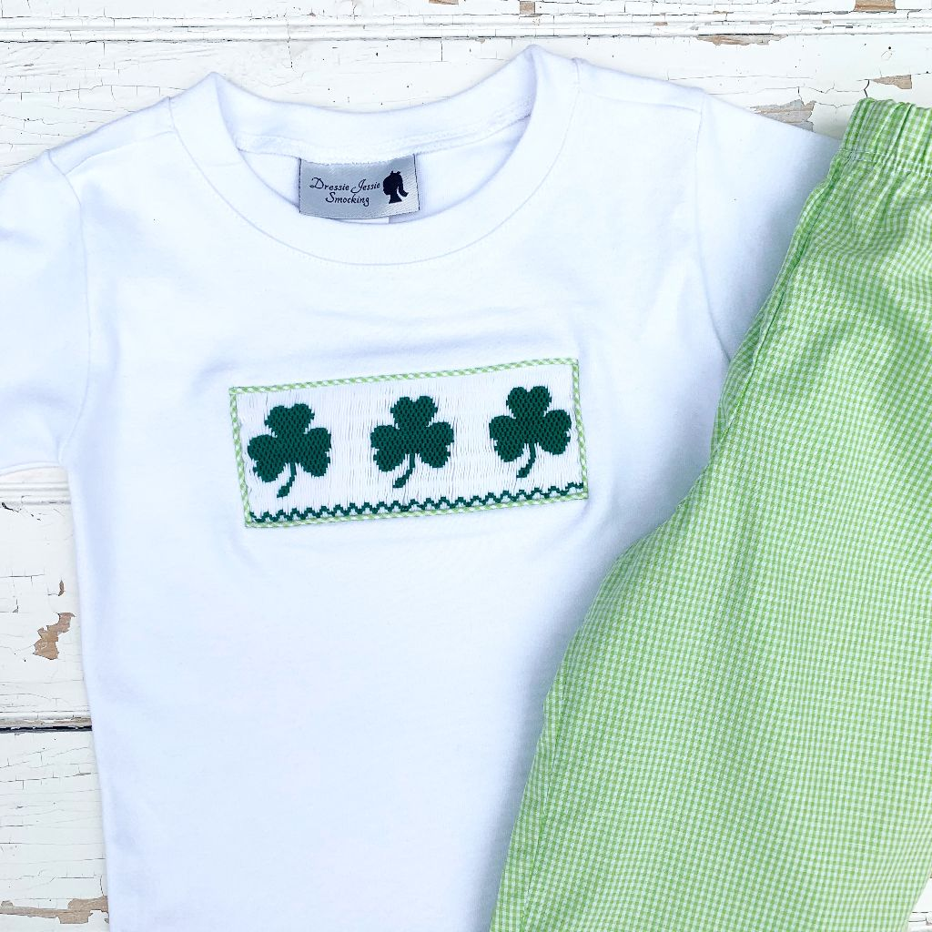 St. Patty's Day Boys Smocked Shirt and Green Gingham Pants