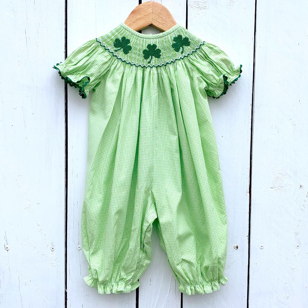 Infant Baby Toddler Girls Smocked Shamrock Bubble Romper