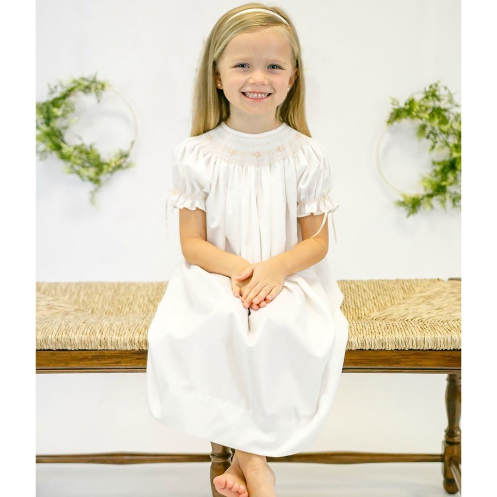 Girls Heirloom Smocked Dress Ivory White Cream Bishop