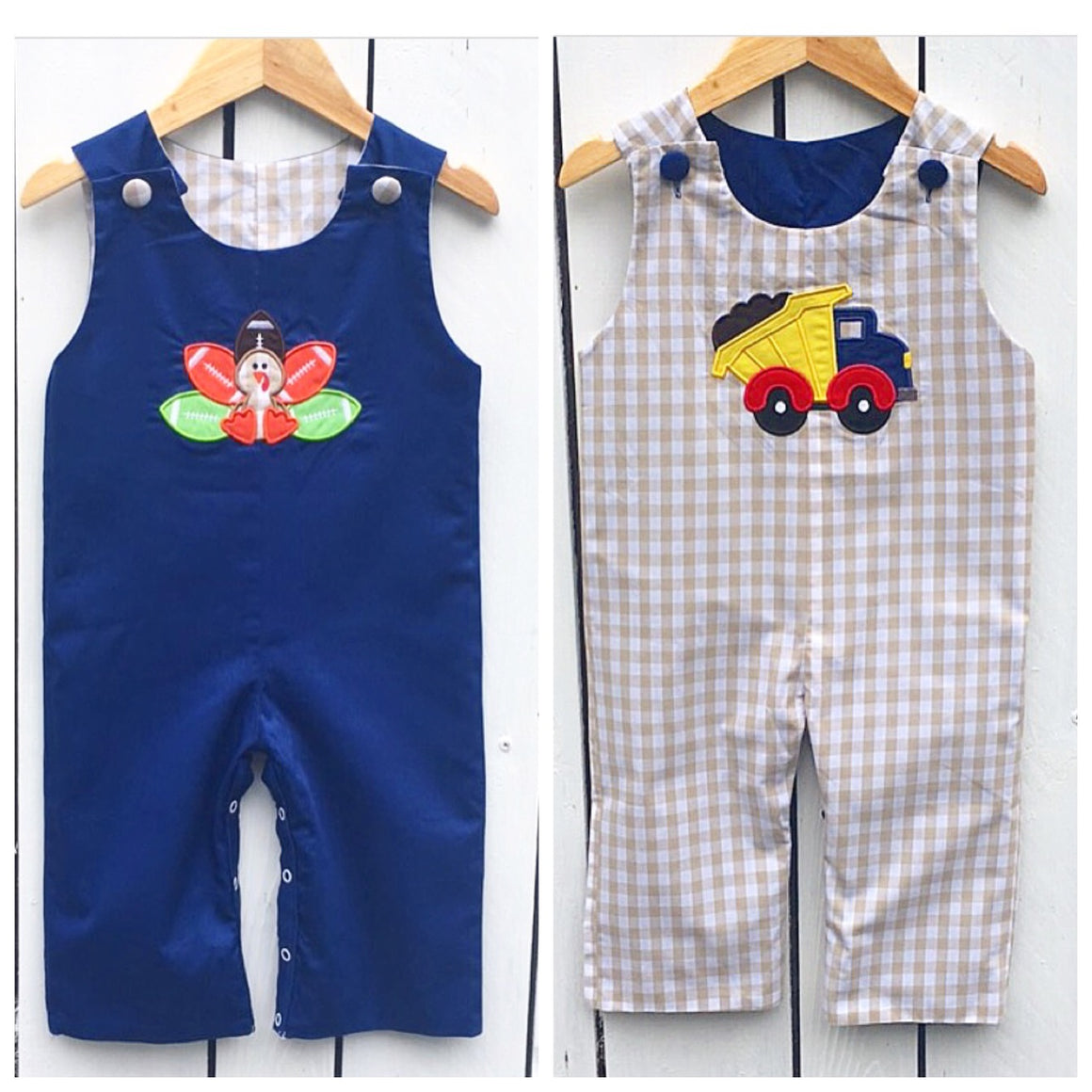 Reversible Longall Turkey Dump Truck Applique Baby Toddler Boys