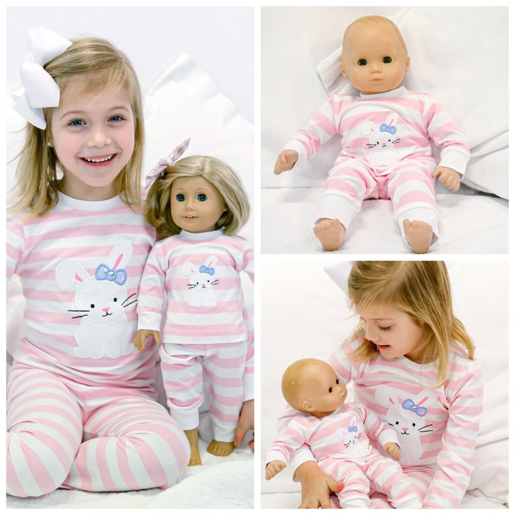 American Girl Doll Clothes Bitty Baby Clothing Easter Pajamas Matching Set