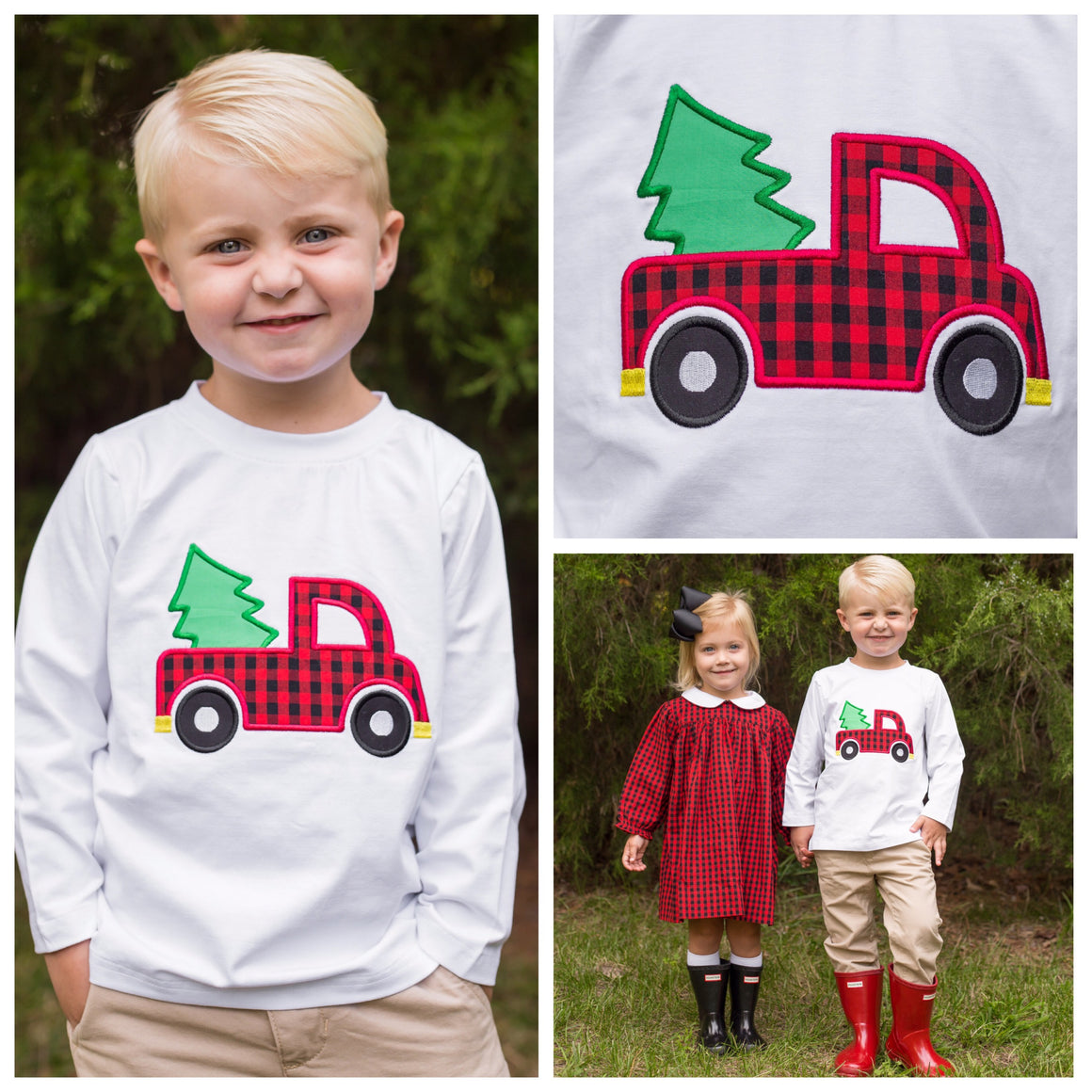Boys White Long Sleeve Christmas Shirt with Buffalo Check Truck and Christmas Tree Applique