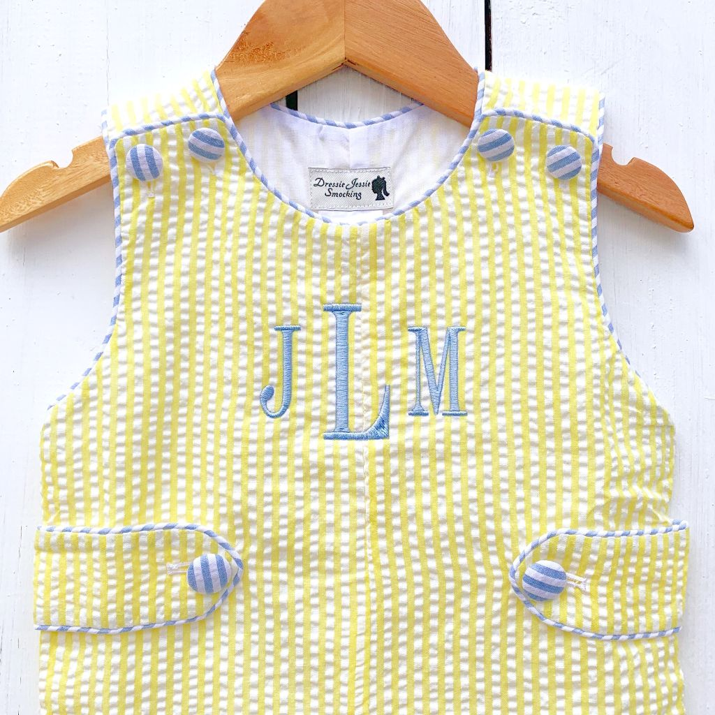 Baby Infant Toddler Boys Monogrammed Yellow Jon Jon