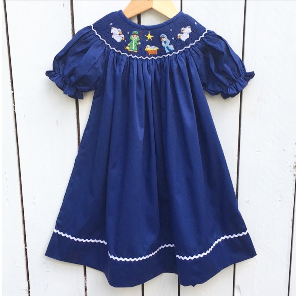 Smocked Nativity Christmas Bishop Dress