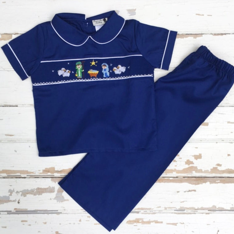 Smocked Nativity Pant Set