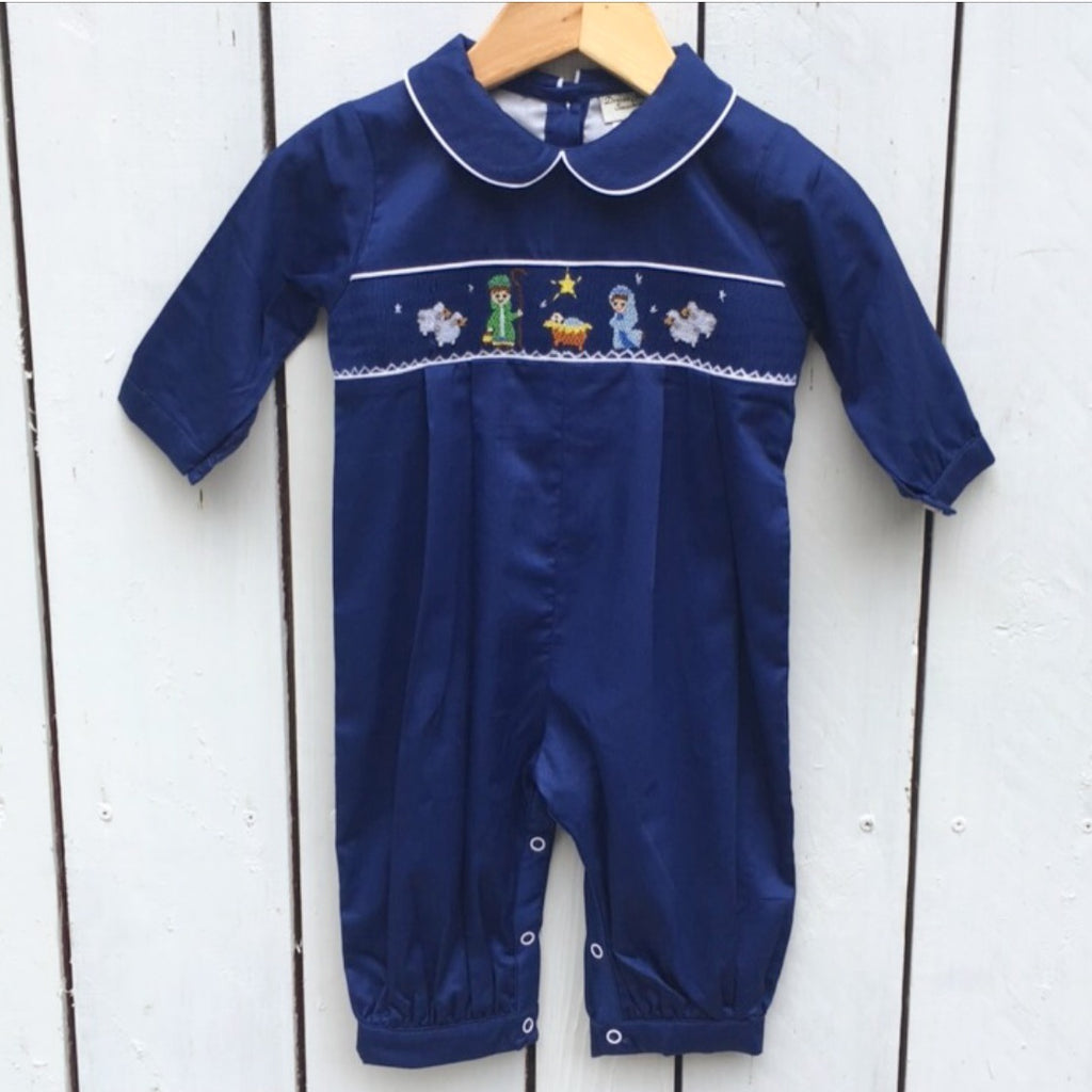 Boys Smocked Nativity Christmas Bubble Romper outfit