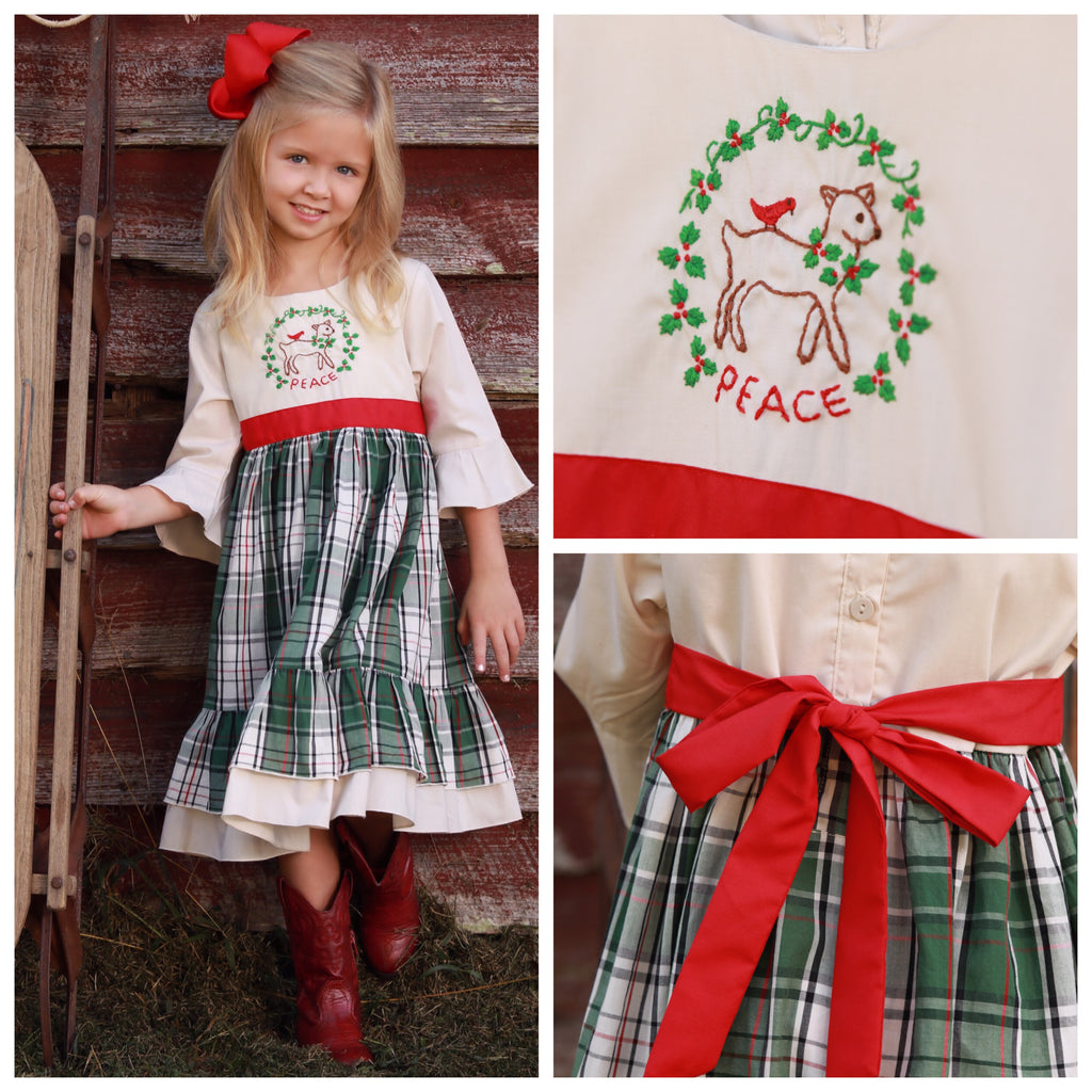 Girls Embroidered Deer Boutique Christmas Dress
