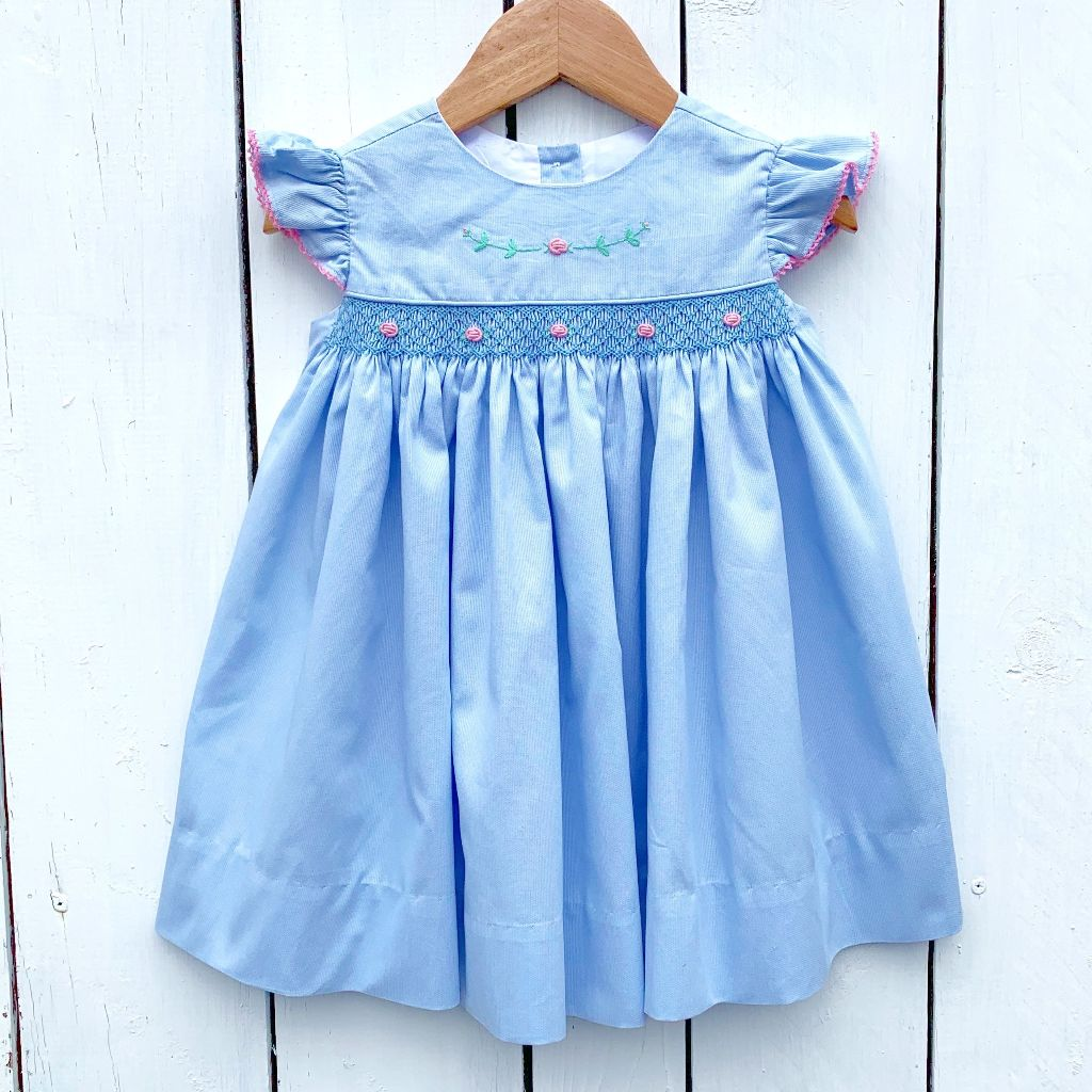 Girls Blue Smocked Dress