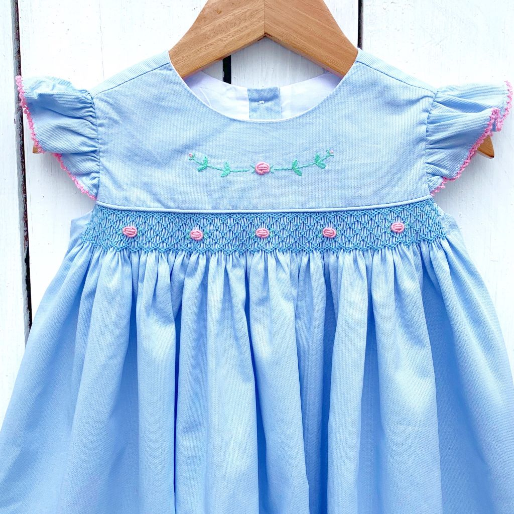 Girls Hand Smocked Dress with Embroidery