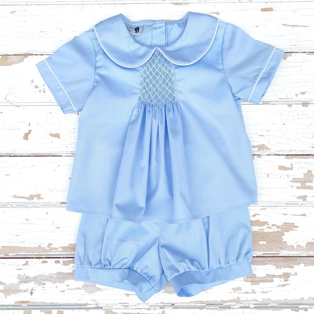 Boys Smocked Top and Banded Shorts Set