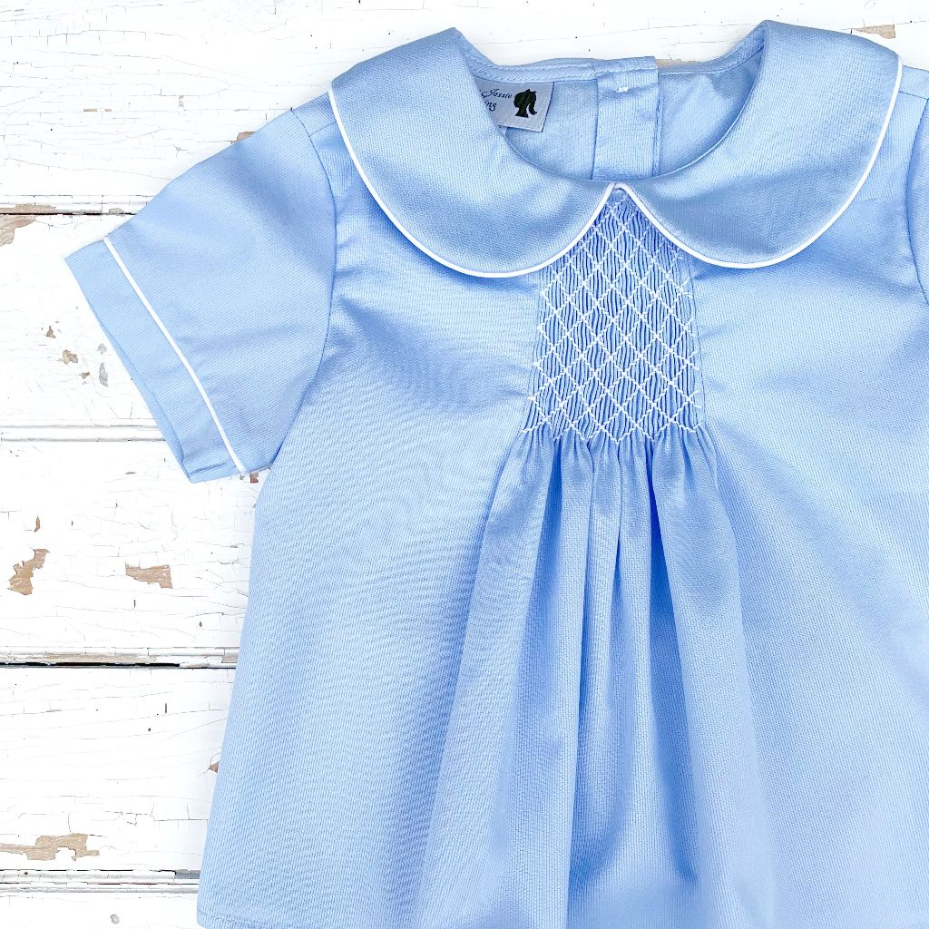 Boys Southern Wedding Outfit Blue Smocked Heirloom Set
