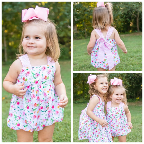 Baby Infant Toddler Girls Peony Print Floral Sun Bubble