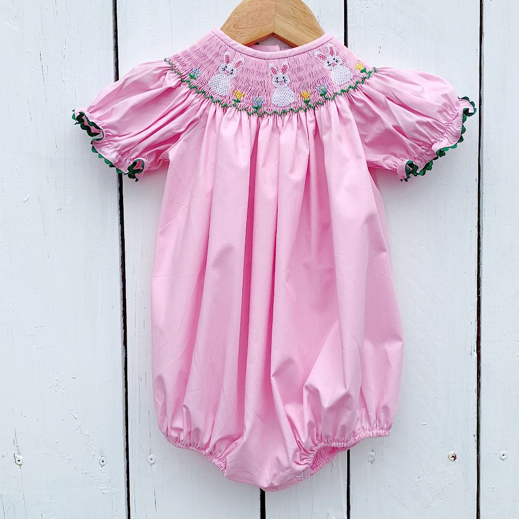 Infant Baby Toddler Girls Smocked Easter Bubble
