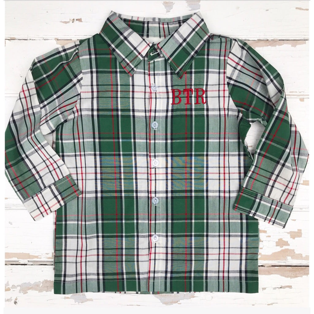 Boys Christmas Plaid Shirt with Monogram