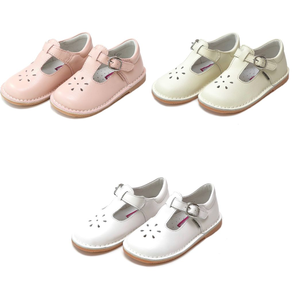 Girls Leather Mary Janes Shoes L'amour Pink White Cream