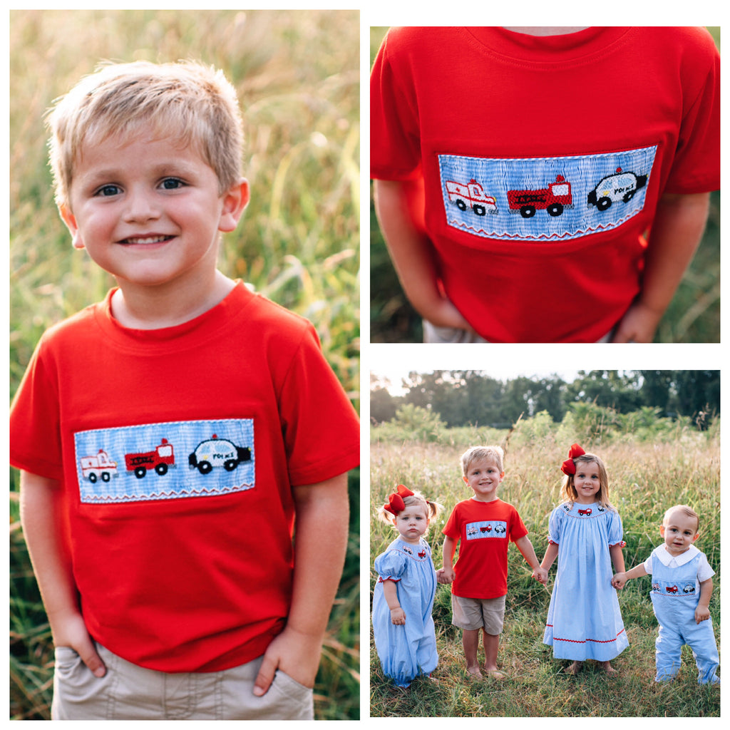 Smocked Police car fire truck ambulance shirt