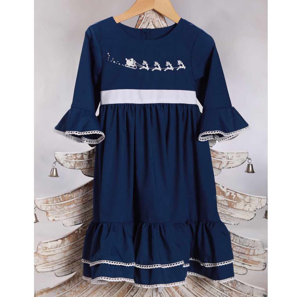 Navy Blue Christmas Dress with White Sash and Trim and Santa Sleigh and Reindeer Embroidery