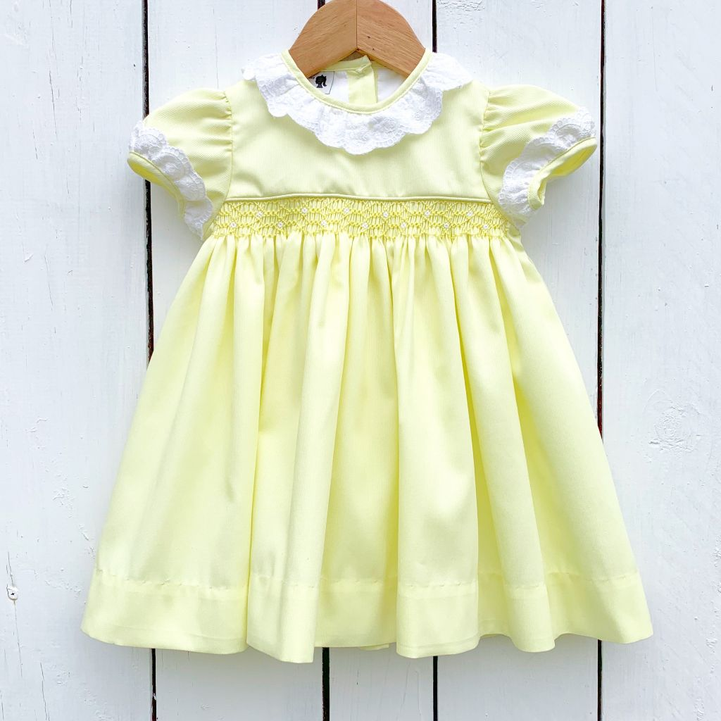 Girls Yellow Smocked Dress