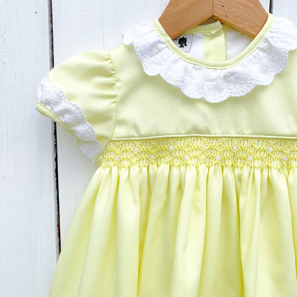Girls Smocked Yellow Dress with Lace Collar