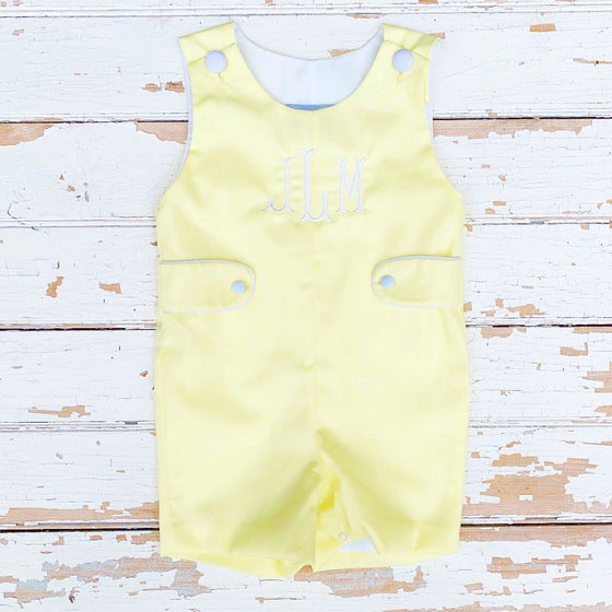 Baby Boys Monogrammed Jon Jon Yellow Shortall