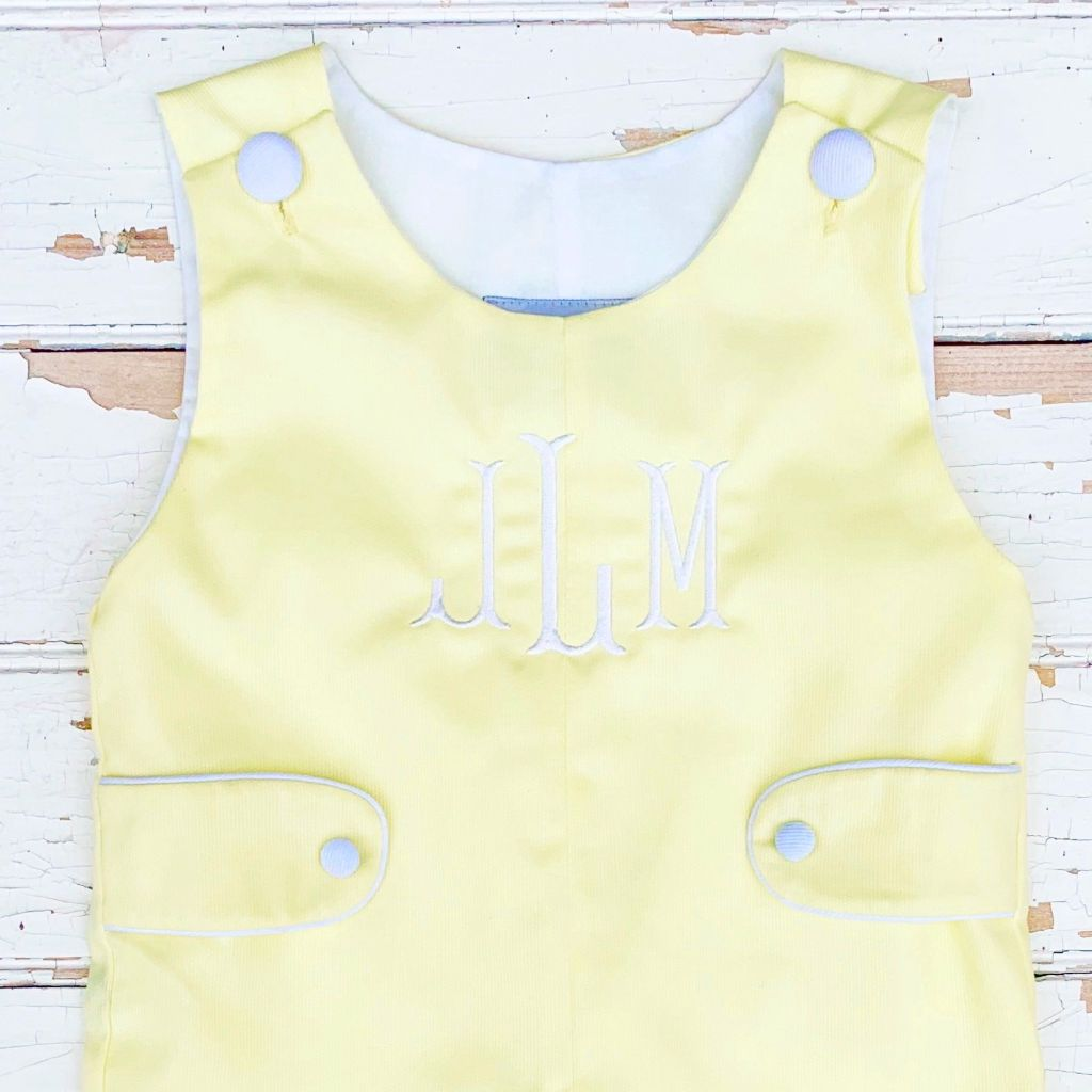 Boys Yellow Shortall Jon Jon Yellow and White Monogram