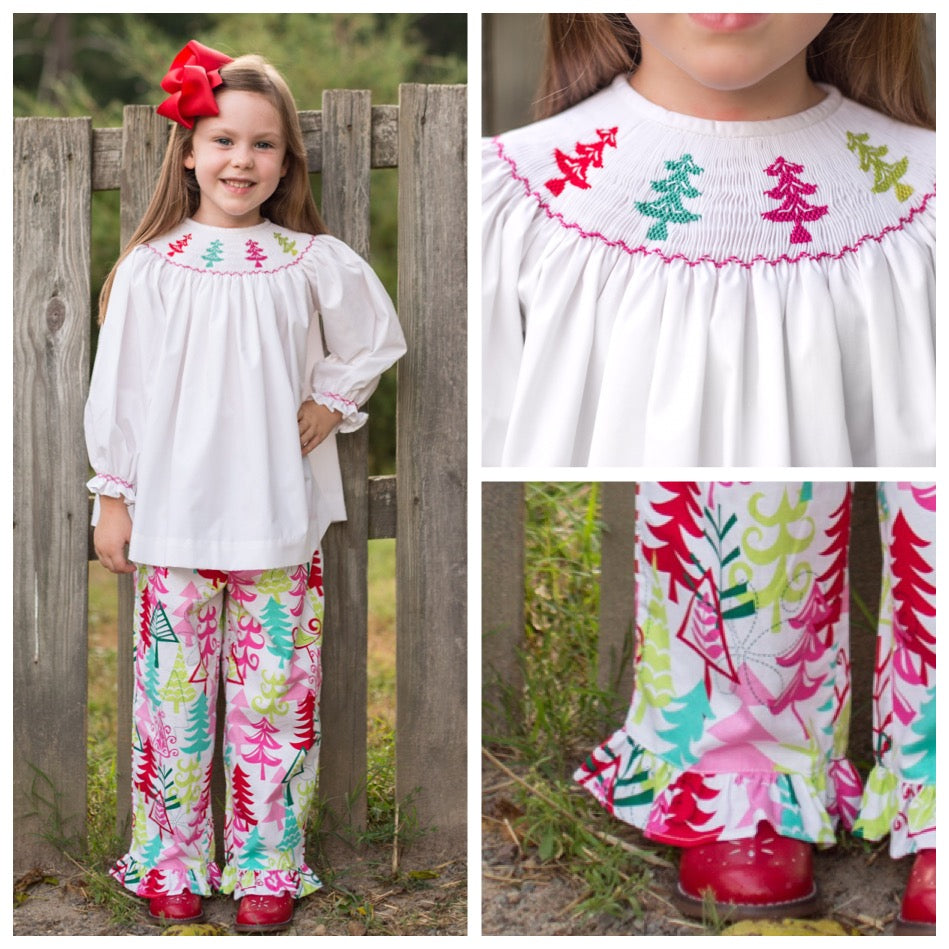 Smocked Merry and Bright Pant Set