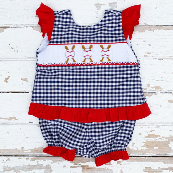 Girls Smocked Baseball Bloomer Set