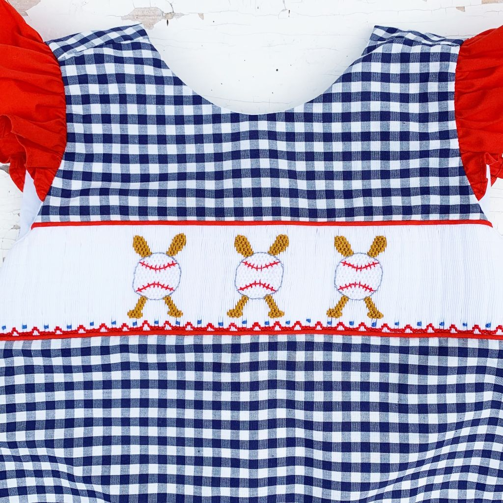 Smocked Baseball Outfit Girls