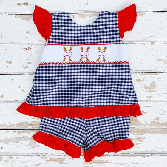 Girls Smocked Baseball Ruffled Short Set
