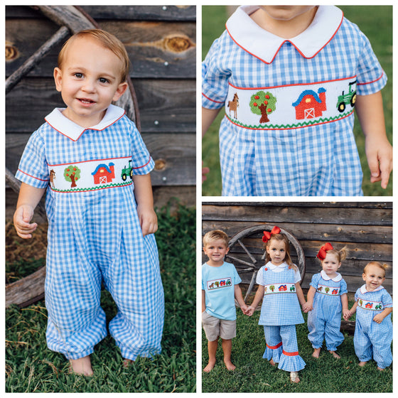 Boys Smocked Farm Bubble