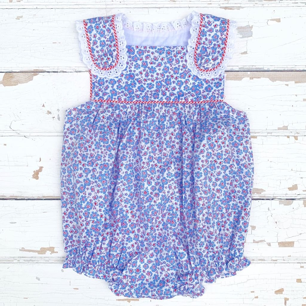 Baby Infant Toddler Girls Red White and Blue Bubble