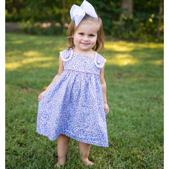 Girls Red, White and Blue Floral Dress