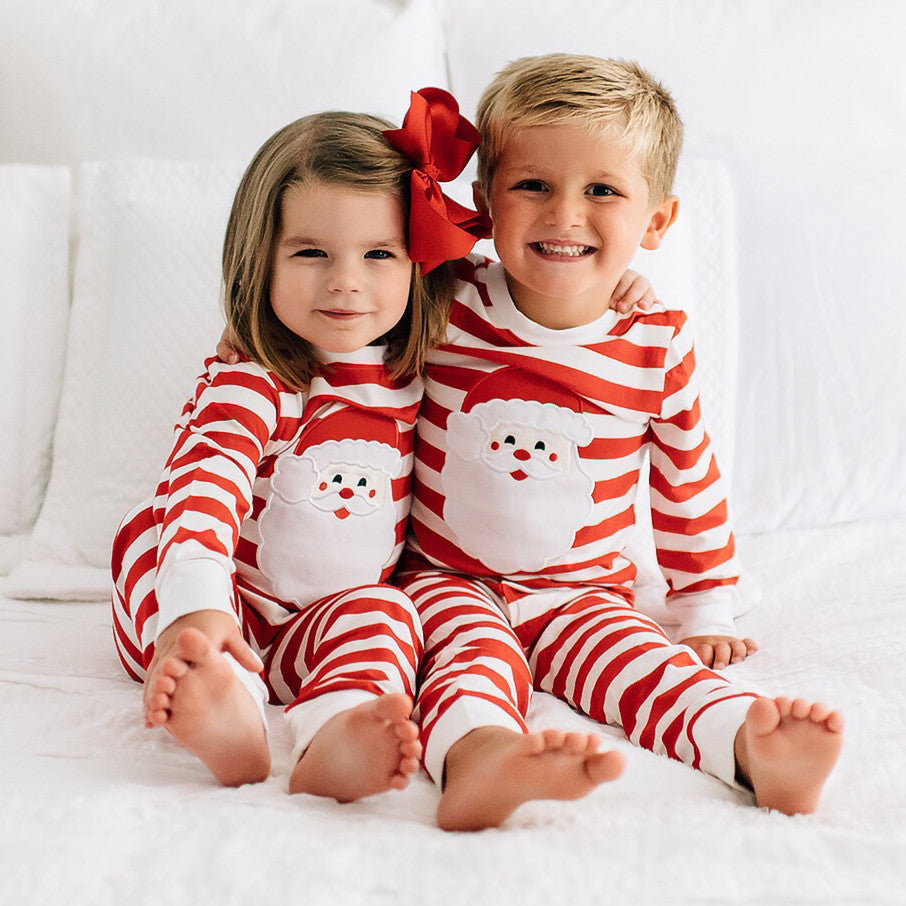 Boutique Red White Stripe Santa Claus Applique Pajamas Boy Girl