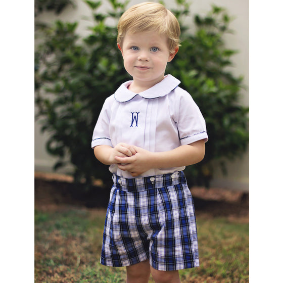 Blue Plaid Button On Shorts Set