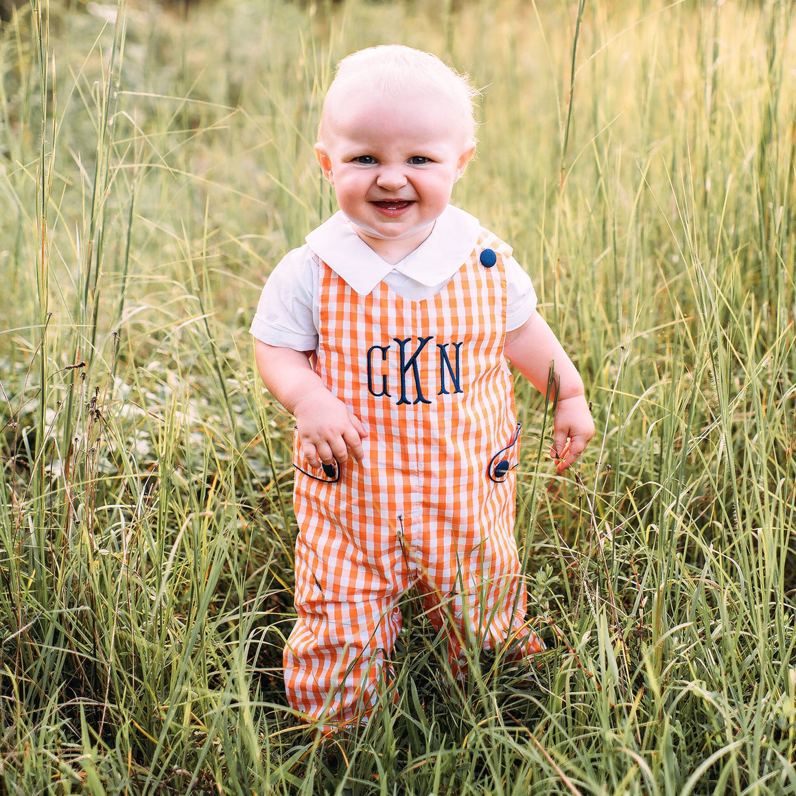 Boys Orange Gingham Monogrammed Longall with Navy Buttons