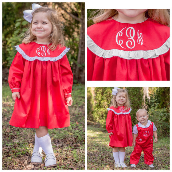 Red Monogrammed Float Dress with White Ruffle
