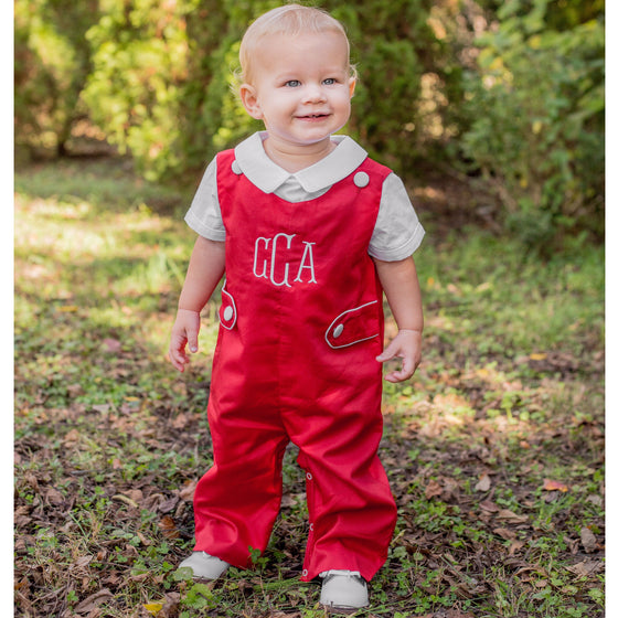Boys Red Monogrammed Longall with White Piping and Buttons