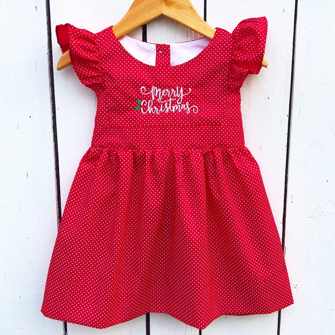 red christmas pinafore dress with merry christmas embroidery - Red Christmas Dress