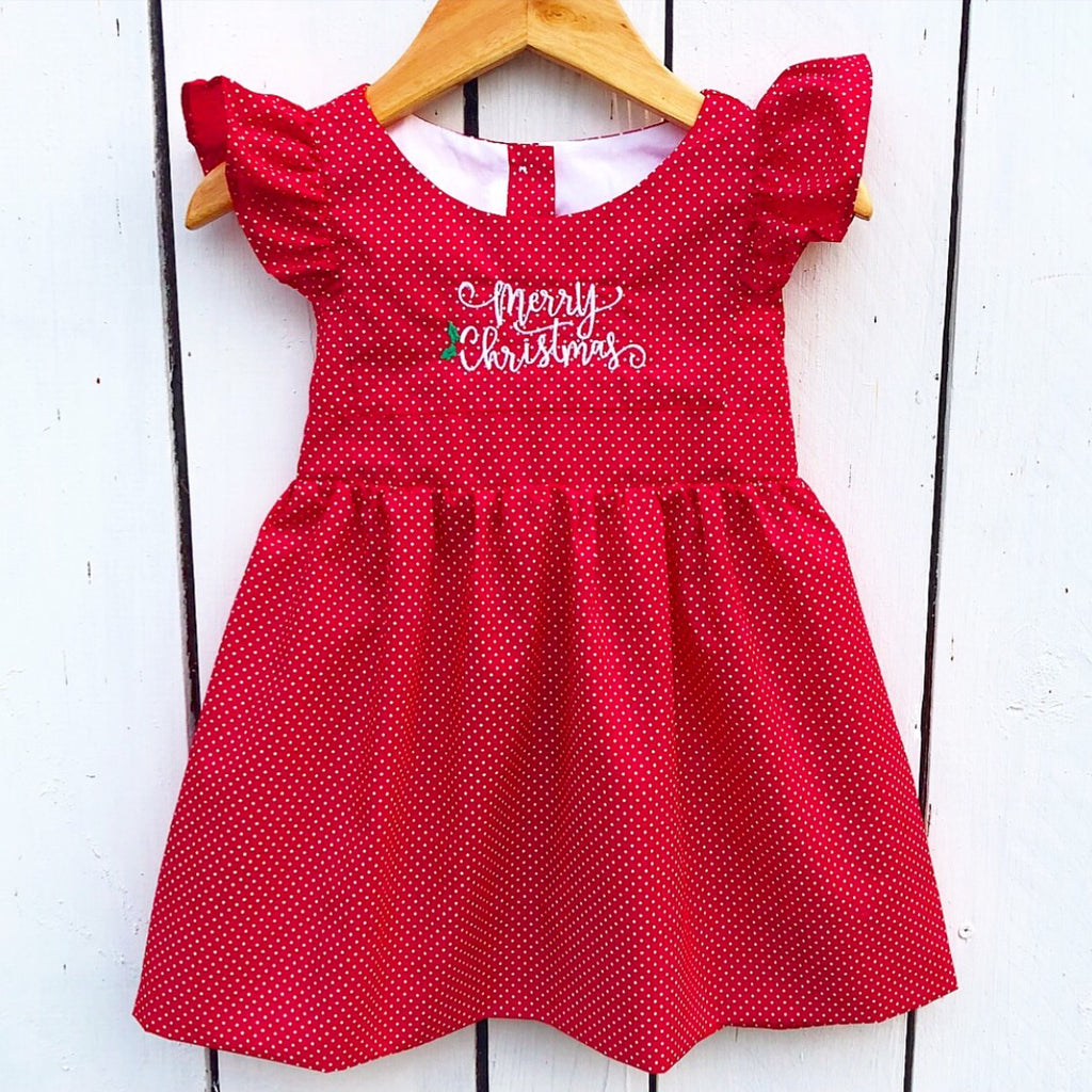 Red Christmas Pinafore Dress with Merry Christmas Embroidery