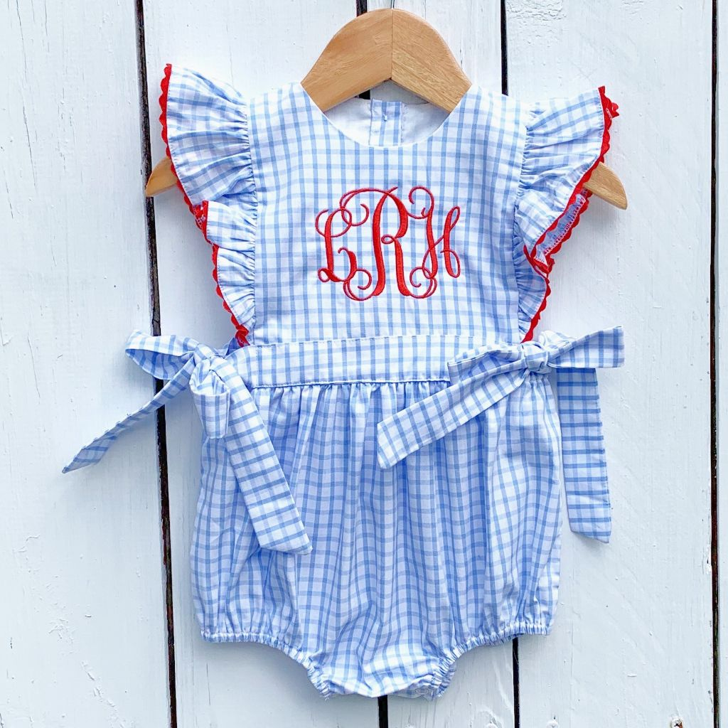 Baby Infant Toddler Girls Red White and Blue Bubble Romper July 4th Outfit