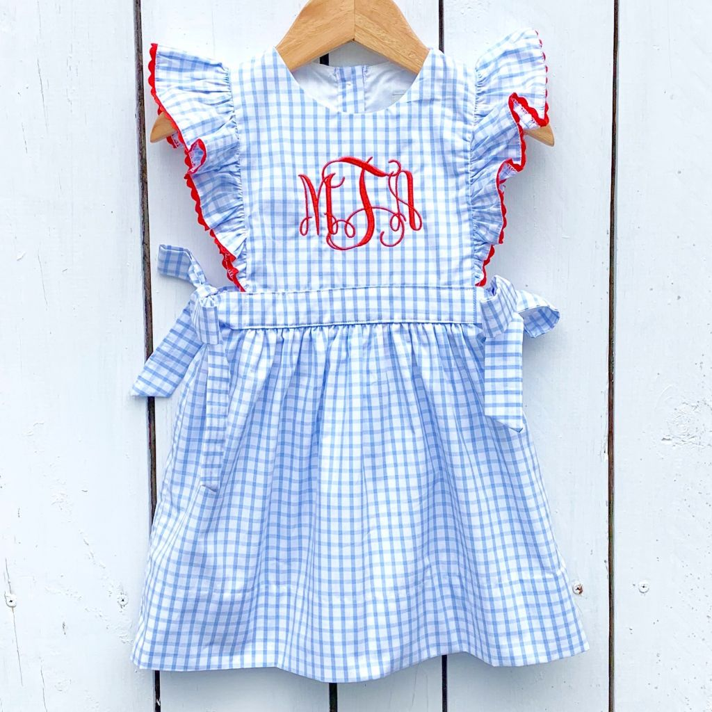 Girls Blue Gingham Monogram Dress July 4th