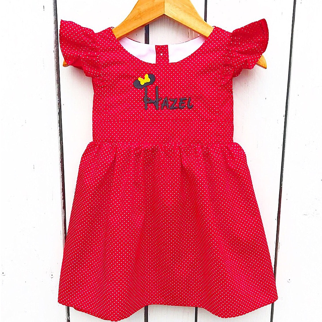 Red Personalized Pinafore Dress with Disney Minnie Mouse Embroidery