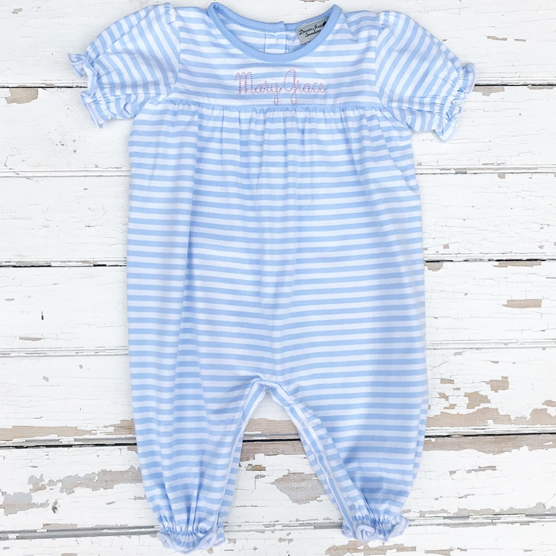 Girls Blue Stripe Knit Personalized Bubble