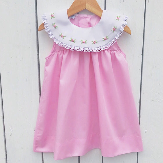 Girls Easter Dress Pink Rosebud Embroidery White Eyelet Lace