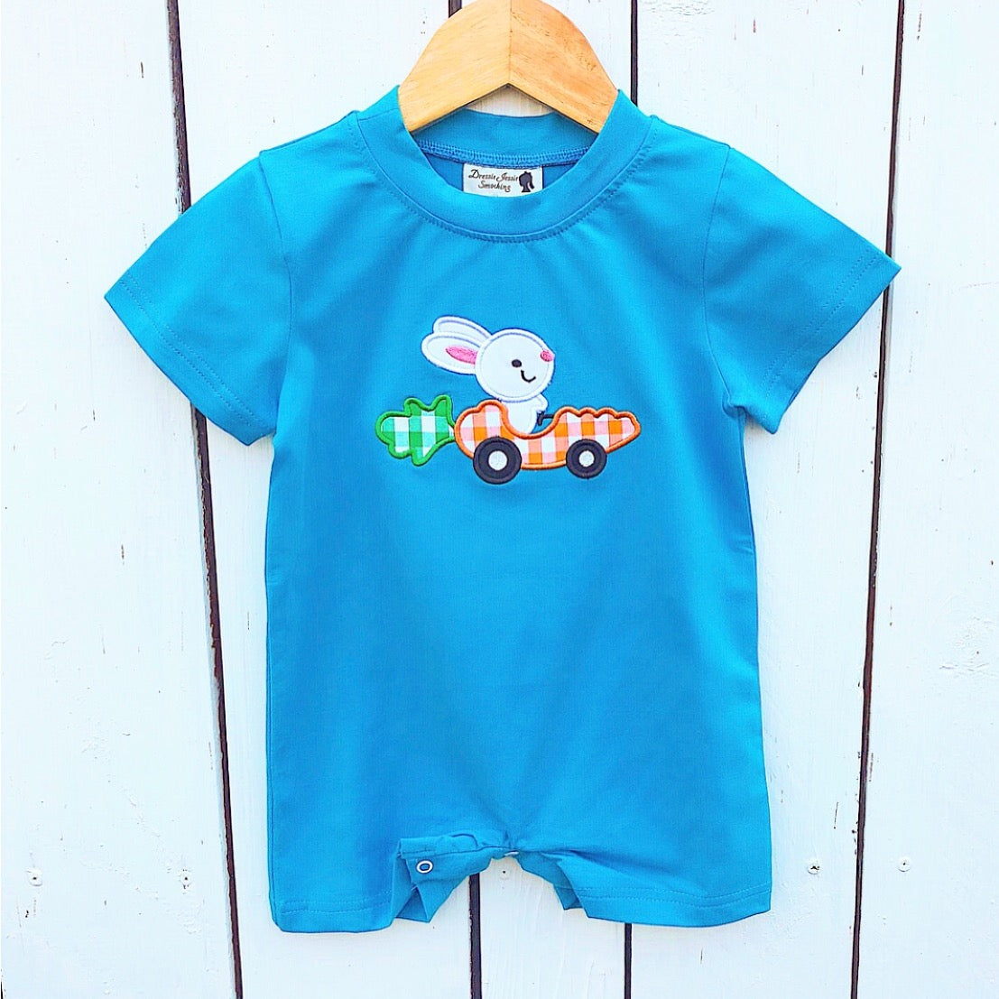 Baby Boy Rabbit Carrot Car Applique Knit Romper Easter Outfit