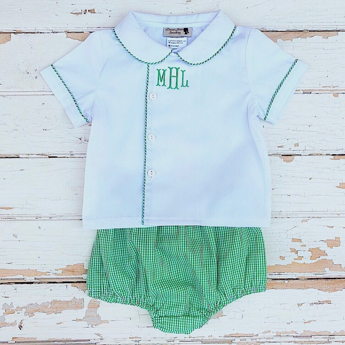 Baby Toddler Boys Diaper Set Green Gingham Monogram