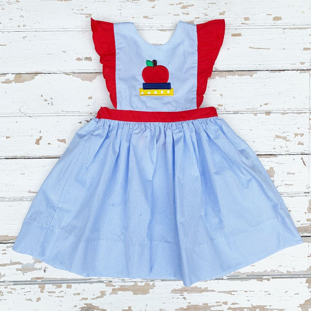 Girls Apple Pinafore Dress Back to School
