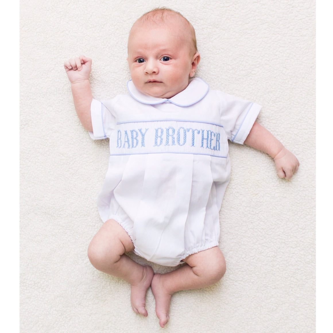 Smocked Baby Little Brother Bubble Outfit